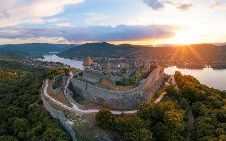 Amazing aerial landscapes about the Visegrad Castle in Hungary.