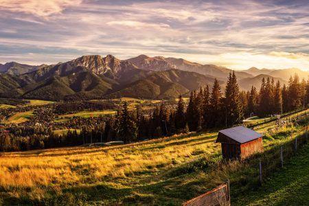 Gubalowka – view on panorama of Tatras at sunset, Poland