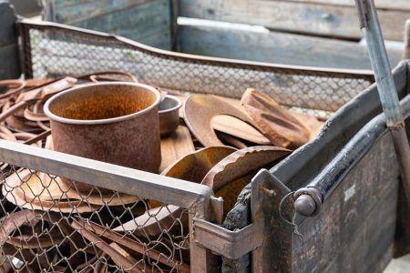 Original pots and pans in Oscar Schindler factory in Krakow