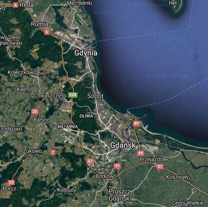 A map showing the localization of Tricity, consisting of Gdańsk, Sopot, Gdynia and smaller cities combined into a metropolitan area.