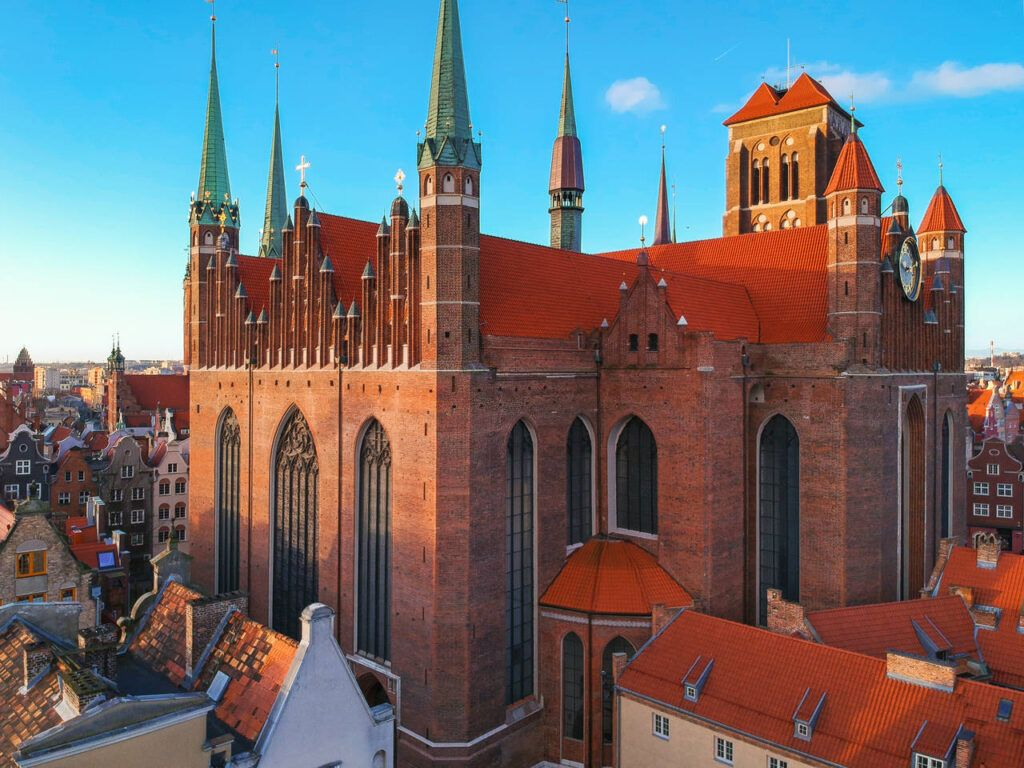 Aerial view of the St. Mary's Basilica in Gdansk at sunrise