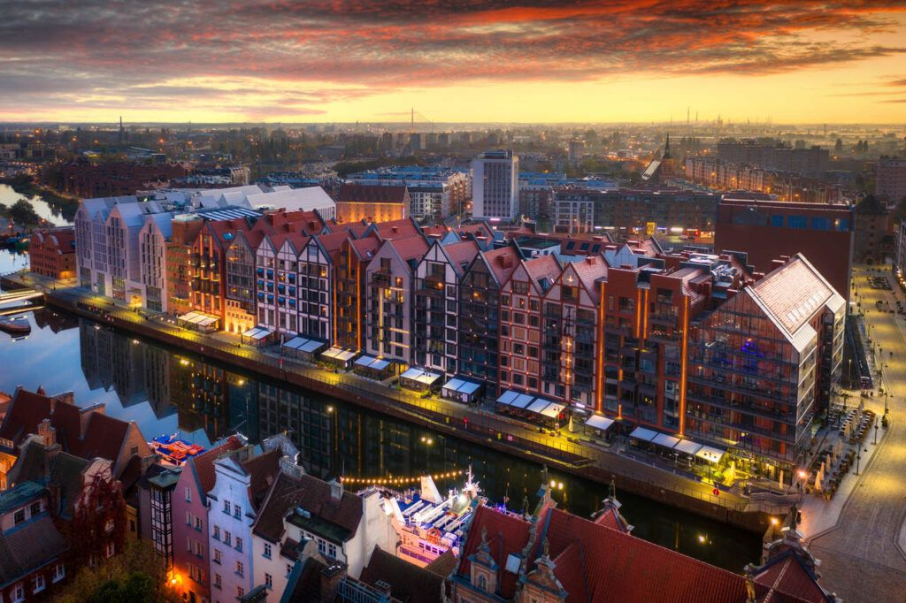Aerial view of the old town of Gdansk at dawn, Poland
