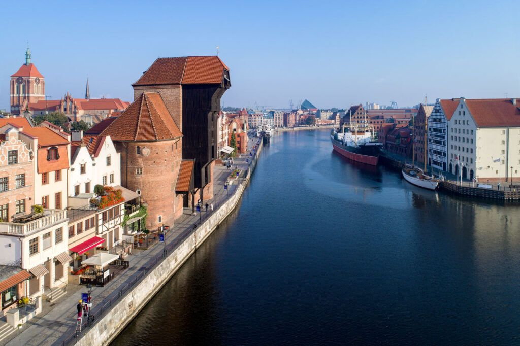 Gdansk old city in Poland with the oldest medieval port crane (Zuraw) in Europe