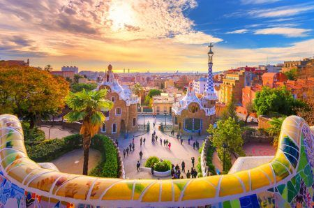 Barcelona at sunset viewed from Park Guell