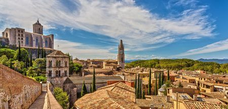 View of the medieval city of Girona with the Cathedral of St. Mary and the Church of St. Feliu. Girona, Catalonia, Spain.
