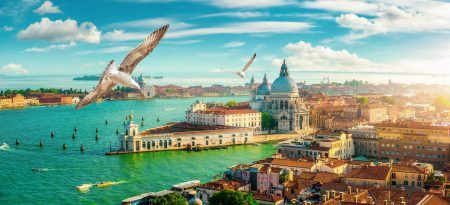 Panoramic aerial view of Venice from San Marco Campanile