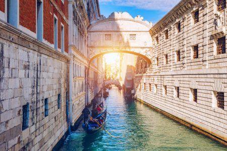 View of the Bridge of Sighs (Ponte dei Sospiri) and the Rio de Palazzo o de Canonica Canal from the Riva degli Schiavoni in Venice, Italy.
