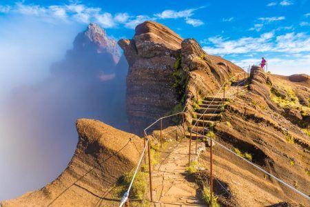 Mountain trail Pico do Arieiro, Madeira Island, Portugal