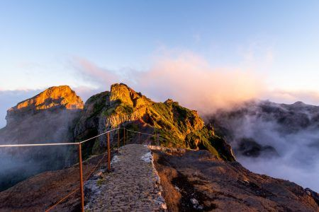 Starting pathway to Pico Ruivo peak at golden hour, Madeira, Portugal