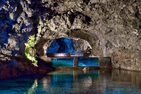 The Sao Vicente volcanic caves on the Madeira island, Portugal, created by the volcano eruption million years ago